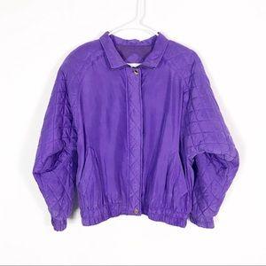 Vintage Silk Purple Quilted Track Bomber Jacket